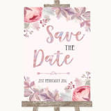 Blush Rose Gold & Lilac Save The Date Customised Wedding Sign