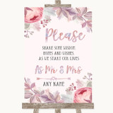 Blush Rose Gold & Lilac Share Your Wishes Customised Wedding Sign
