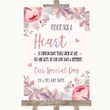 Blush Rose Gold & Lilac Sign a Heart Customised Wedding Sign