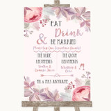 Blush Rose Gold & Lilac Signature Favourite Drinks Customised Wedding Sign