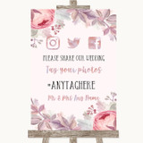 Blush Rose Gold & Lilac Social Media Hashtag Photos Customised Wedding Sign