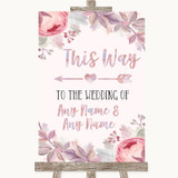 Blush Rose Gold & Lilac This Way Arrow Left Customised Wedding Sign
