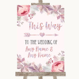 Blush Rose Gold & Lilac This Way Arrow Right Customised Wedding Sign