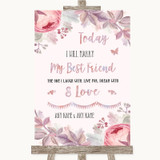 Blush Rose Gold & Lilac Today I Marry My Best Friend Customised Wedding Sign