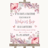 Blush Rose Gold & Lilac Wedpics App Photos Customised Wedding Sign