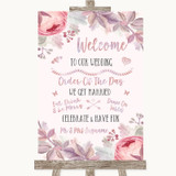 Blush Rose Gold & Lilac Welcome Order Of The Day Customised Wedding Sign