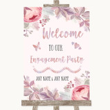 Blush Rose Gold & Lilac Welcome To Our Engagement Party Wedding Sign