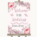 Blush Rose Gold & Lilac Welcome To Our Wedding Customised Wedding Sign