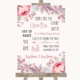 Blush Rose Gold & Lilac When I Tell You I Love You Customised Wedding Sign