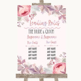 Blush Rose Gold & Lilac Who's Who Leading Roles Customised Wedding Sign