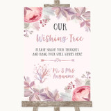Blush Rose Gold & Lilac Wishing Tree Customised Wedding Sign
