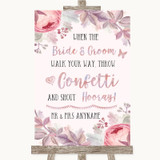 Blush Rose Gold & Lilac Confetti Customised Wedding Sign