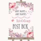 Blush Rose Gold & Lilac Card Post Box Customised Wedding Sign
