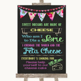 Bright Bunting Chalk Cheesecake Cheese Song Customised Wedding Sign