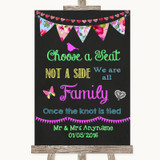 Bright Bunting Chalk Choose A Seat We Are All Family Customised Wedding Sign