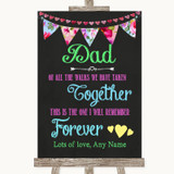 Bright Bunting Chalk Dad Walk Down The Aisle Customised Wedding Sign
