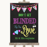 Bright Bunting Chalk Don't Be Blinded Sunglasses Customised Wedding Sign