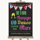 Bright Bunting Chalk Drink Champagne Dance Stars Customised Wedding Sign