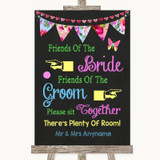 Bright Bunting Chalk Friends Of The Bride Groom Seating Wedding Sign