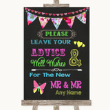 Bright Bunting Chalk Guestbook Advice & Wishes Gay Customised Wedding Sign