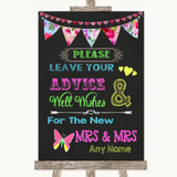 Bright Bunting Chalk Guestbook Advice & Wishes Lesbian Customised Wedding Sign