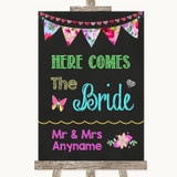 Bright Bunting Chalk Here Comes Bride Aisle Sign Customised Wedding Sign