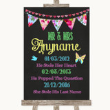 Bright Bunting Chalk Important Special Dates Customised Wedding Sign