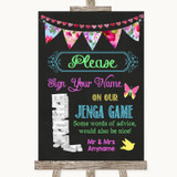 Bright Bunting Chalk Jenga Guest Book Customised Wedding Sign