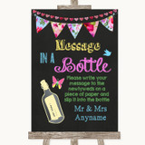 Bright Bunting Chalk Message In A Bottle Customised Wedding Sign