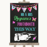 Bright Bunting Chalk Photobooth This Way Right Customised Wedding Sign