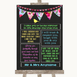 Bright Bunting Chalk Romantic Vows Customised Wedding Sign