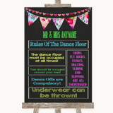 Bright Bunting Chalk Rules Of The Dance Floor Customised Wedding Sign