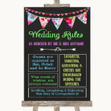 Bright Bunting Chalk Rules Of The Wedding Customised Wedding Sign