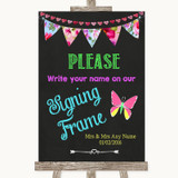 Bright Bunting Chalk Signing Frame Guestbook Customised Wedding Sign