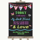 Bright Bunting Chalk Today I Marry My Best Friend Customised Wedding Sign