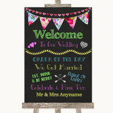 Bright Bunting Chalk Welcome Order Of The Day Customised Wedding Sign
