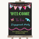 Bright Bunting Chalk Welcome To Our Engagement Party Customised Wedding Sign