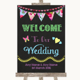 Bright Bunting Chalk Welcome To Our Wedding Customised Wedding Sign