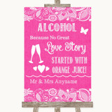 Bright Pink Burlap & Lace Alcohol Bar Love Story Customised Wedding Sign