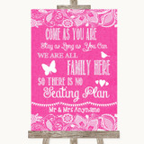 Bright Pink Burlap & Lace All Family No Seating Plan Customised Wedding Sign