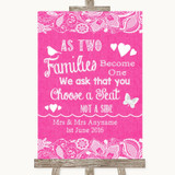 Bright Pink Burlap & Lace As Families Become One Seating Plan Wedding Sign