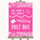 Bright Pink Burlap & Lace Card Post Box Customised Wedding Sign