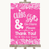 Bright Pink Burlap & Lace Cards & Gifts Table Customised Wedding Sign