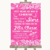 Bright Pink Burlap & Lace Cheese Board Song Customised Wedding Sign