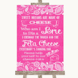 Bright Pink Burlap & Lace Cheesecake Cheese Song Customised Wedding Sign