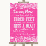 Bright Pink Burlap & Lace Dancing Shoes Flip-Flop Tired Feet Wedding Sign