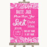 Bright Pink Burlap & Lace Date Jar Guestbook Customised Wedding Sign