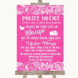 Bright Pink Burlap & Lace Don't Post Photos Facebook Customised Wedding Sign
