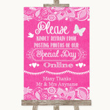 Bright Pink Burlap & Lace Don't Post Photos Online Social Media Wedding Sign