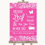 Bright Pink Burlap & Lace Fingerprint Tree Instructions Wedding Sign